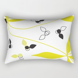 Abstract Floral Artwork Yellow and Black Rectangular Pillow