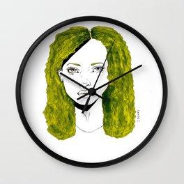 GIRL WITH CURLY KAKI HAIR  Wall Clock