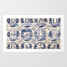 Dutch Delft Blue Tiles Art Print