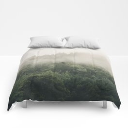 Forest Fog Photography | Woods | Misty | Mist | Forest Dew | Kaszuby Canada | Nature Photography Comforters
