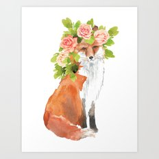 fox with flower crown Art Print
