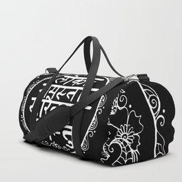 Square - Mandala - Mantra - Lokāḥ samastāḥ sukhino bhavantu - Black White Duffle Bag