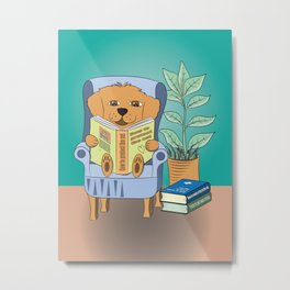 Dog Reading Metal Print
