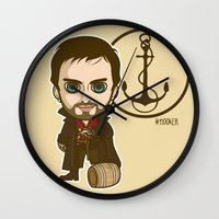 captain hook Wall Clocks featuring Captain Hook by Samtronika