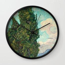 Cypresses by Vincent van Gogh Wall Clock
