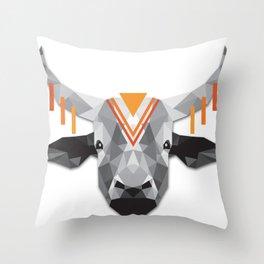 Boho poly cow Throw Pillow