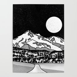 Mount Shasta Black and White Poster