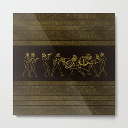 Ancient Sparta  Greece scene on greek pattern Metal Print