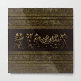 Ancient Sparta  Greece scene on greek pattern Metal Print