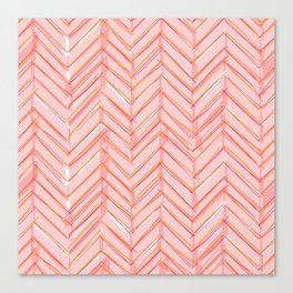 Neon Grapefruit Herringbone Canvas Print