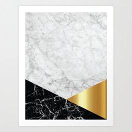 White Marble Black Granite & Gold #944 Art Print