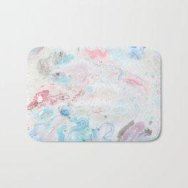 Abstract hand painted pink teal aqua  watercolor marble Bath Mat