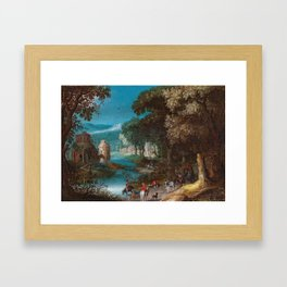 Anton Mirou (Frankenthal before 1586 - after 1653) A river landscape with a horse-drawn cart and tra Framed Art Print