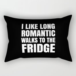 I LIKE LONG ROMANTIC WALKS TO THE FRIDGE (Black & White) Rectangular Pillow