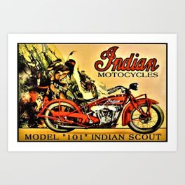 Classic Indian Biker Advertisement Art Art Print