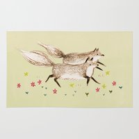 running Area & Throw Rugs featuring Running Foxes by Sophie Corrigan