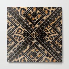Leopard Fur with Ethnic Ornaments #1 Metal Print