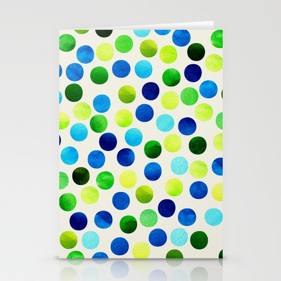 Watercolor Dots_Aqua by Jacqueline and Garima Stationery Cards