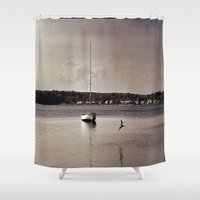 sailboat Shower Curtains featuring sailboat by Danszpakowski