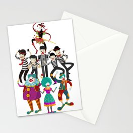 clowns and mimes Stationery Cards
