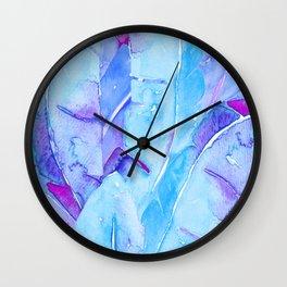 Banana Tree Leaves | Purple & Cyan Blue Wall Clock