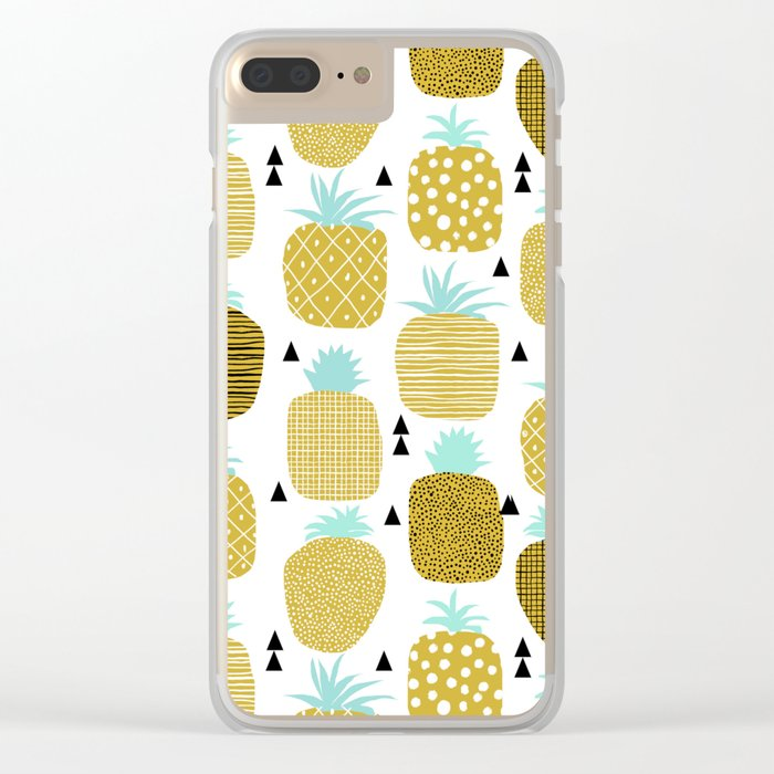 Pineapples triangles black and white minimal pattern tropical fruits print Clear iPhone Case