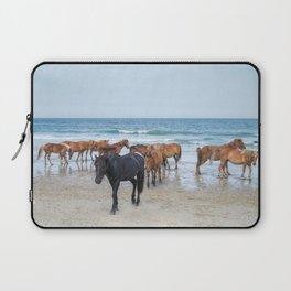 Outer Banks, Corolla, NC, Stallion and his Harem Matted Print Laptop Sleeve
