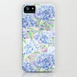 Botanical pink lavender watercolor hortensia floral iPhone Case