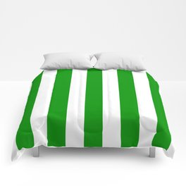 Islamic green - solid color - white vertical lines pattern Comforters