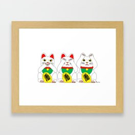 Three Wise Lucky Cats Framed Art Print