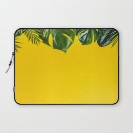 Tropical leaves on yellow background, space for text Laptop Sleeve