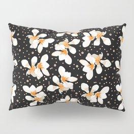 White And Orange Flowers On Black Pillow Sham