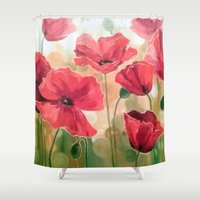 poppies Shower Curtains featuring Poppies by OLHADARCHUK