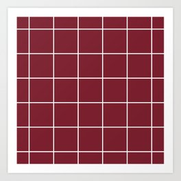 Minimal grid pattern on red Art Print