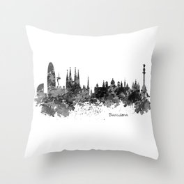 Barcelona Black and White Watercolor Skyline Throw Pillow
