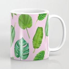 Pink Tropical Monstera Palm Leaves Jungle Pattern Coffee Mug