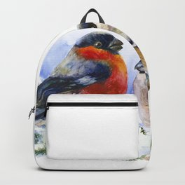 Bullfinches in winter time. Christmas Watercolor Art Backpack