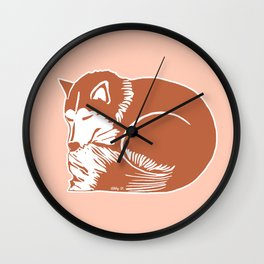 Sleeping Copper Brown Husky Wall Clock