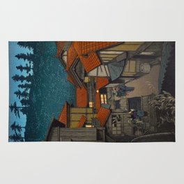 Vintage Japanese Woodblock Print Japanese Red Shinto Shrine Pagoda Winter Snow Rug