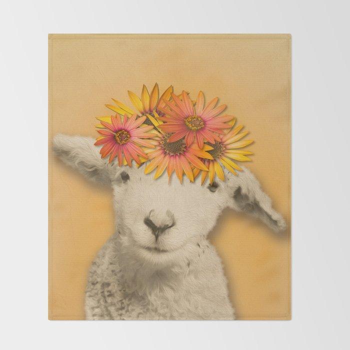 Mustard Yellow Throw Blanket Cool Daisies Sheep Girl Portrait Mustard Yellow Texturized Background