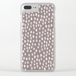 Mauve grayish pink white geometrical polka dots pattern Clear iPhone Case