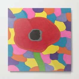 Stained Glass Poppy Metal Print