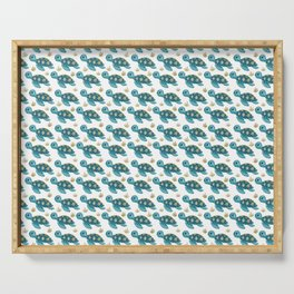 Cute Turquoise Sea Turtle Serving Tray