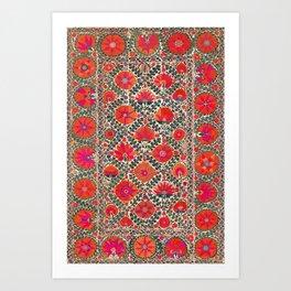 Kermina Suzani Uzbekistan Colorful Embroidery Print Art Print