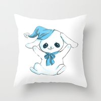 cuddle Throw Pillows featuring Cuddle Bunny by Cat in the Box