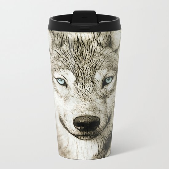 Smokey Sketched Wolf Metal Travel Mug