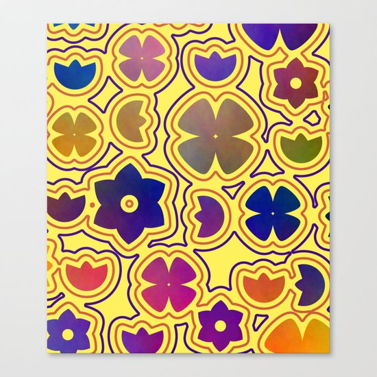 Floral doodles in yellow Canvas Print