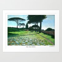 Ostia, the old port of Rome. Painted by Gordon Joy Art Print
