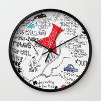 paper towns Wall Clocks featuring Paper towns, John Green by Natasha Ramon
