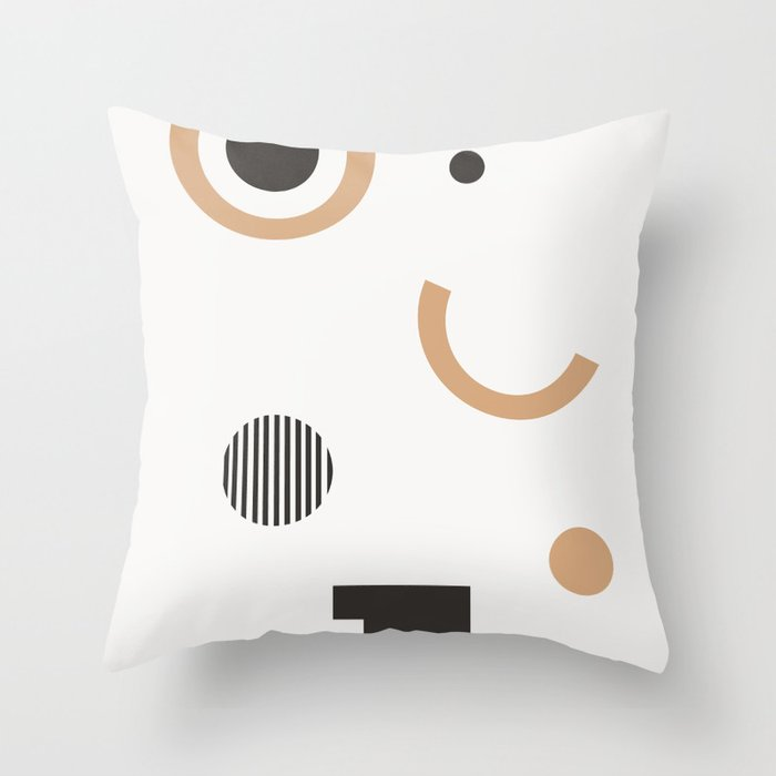 Persis - earthtone, earth tones art print, abstract art, geometric minimal art print Throw Pillow